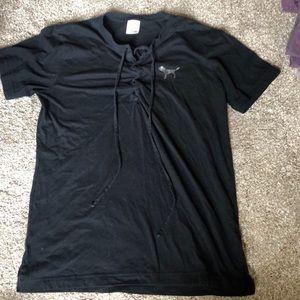 VS PINK cross tie t shirt